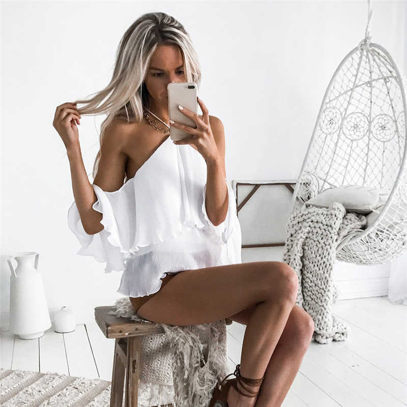 Fashion Summer Women Top Sexy Halter Backless Flare Sleeve Solid Shirt Ruffles Decor Short Sleeve Tie Knot Streetwear Clothes