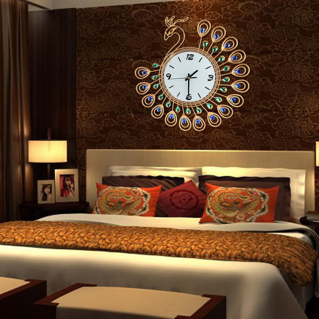 3D Home Decor Wall Clock Quartz Clocks Diamond Peacock Clock Wall Decoration Living Room Home Decal