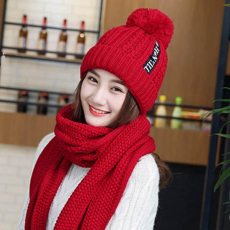 2Set Winter Women's Hat Scarf Warm Knitted Hat Scarf For Girl Women Pom Poms Hat Women Caps   Skullies     Beanies