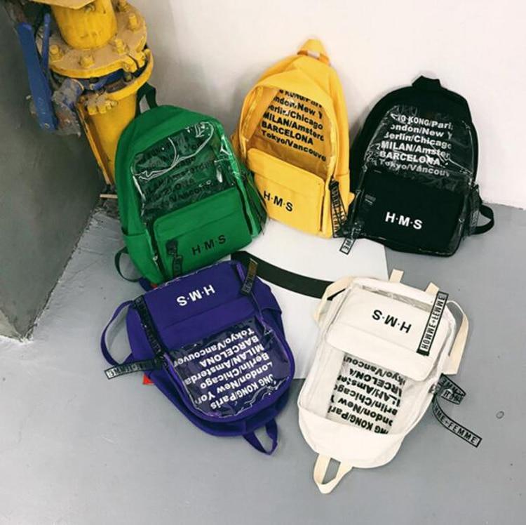 Sac Bookbag Harajuku Femmes lot Toile À 50 Pour Filles Coréen Style Grand Bagpack D'école Transparent Adolescent Pcs Dos Voyage 5gUg6I