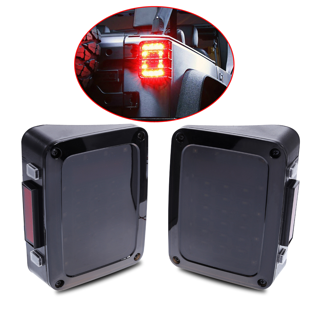 VODOOL 2pcs Car Turn Signal LED Light Rear Tail Light Reverse Backup Light For Jeep Wrangler JK 2007-2016 Car Styling Accessory faduies 2psc amber front led turn signal light assembly for 2007 2016 jeep wrangler jk turn lamp fender led light smoke lens