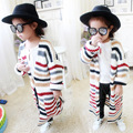 2016 New Toddler Girls Long Sweater Cardigans Baby Girl Cardigan Outerwear Fashion Children's Striped Sweater Kids Knitwear Coat