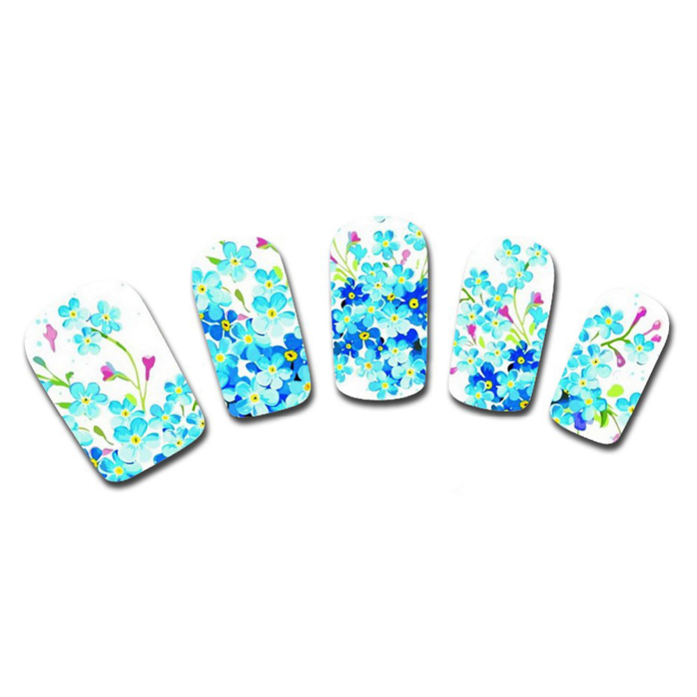 Hot Sale New Blue Flowers Watermake Nail Stickers Full Cover DIY ...