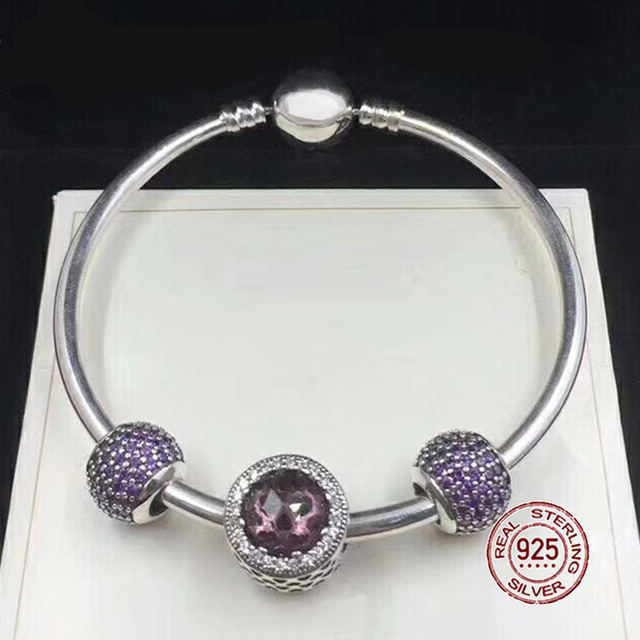 NEW 100% 925 Sterling Silver Bracelet Brown & Purple Charm Bangles for Women With DIY Beads Love Jewelry GiftNEW 100% 925 Sterling Silver Bracelet Brown & Purple Charm Bangles for Women With DIY Beads Love Jewelry Gift