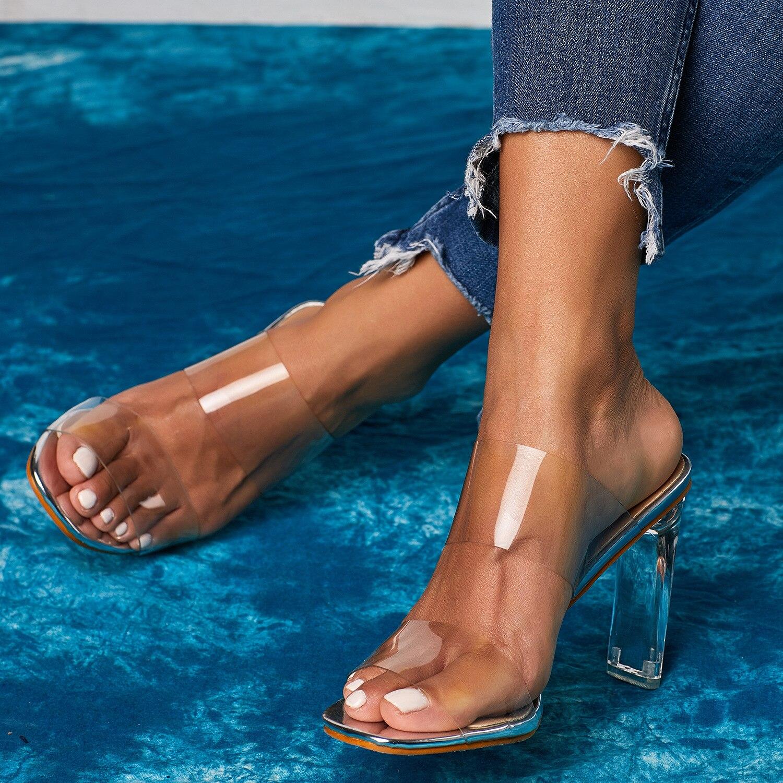 HTB1EmqEUYrpK1RjSZTEq6AWAVXal 2019 Snakelike Sandals Crystal Open Toed High Heels Women Transparent Heel Sandals Slippers Pumps 11CM Big Size 41 42
