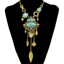 Bohemian Collier Femme Collares Tassel Maxi Coin Necklace Turkish Green Stone Pendant Women Bib Collar Statement Boho Necklaces