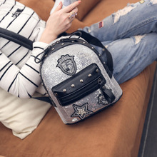2017 new sequins badge backpack female Korean tide bag personality Street Fashion Institute wind all-match package