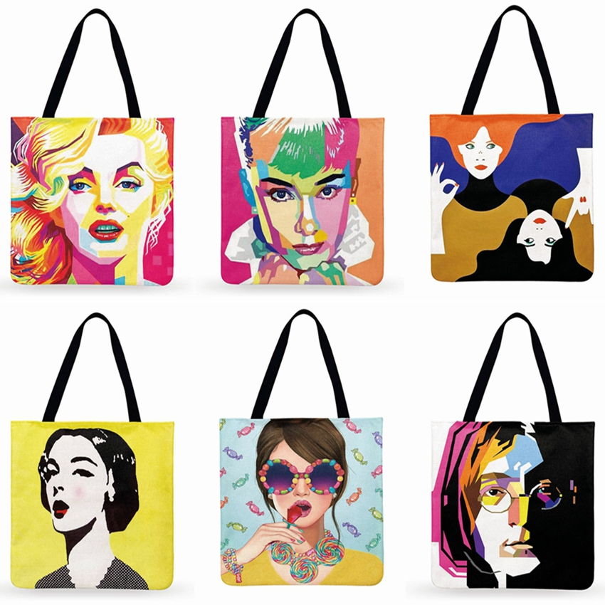 American Pop Art Print Tote Bag For Women Monroe And Hepburn Casual Foldable Shopping Bag Linen Fabric Bag Outdoor Beach Bag