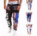 Top Design 2017 Personality Casual Pants Mens Joggers American Flag Star Print Trousers Overalls Sweatpants Hip Hop Harem Pants