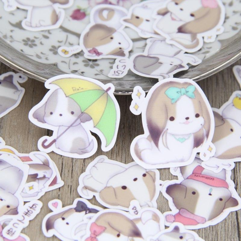 40pcs Cute Little Dog Scrapbooking Stickers Puppy Dogs DIY Craft Decorativ Sticker Pack