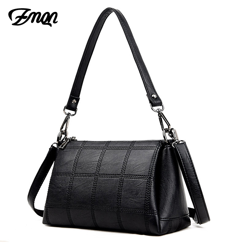 ZMQN Women Crossbody Bags Black Leather Shoulder Messenger Bags For Womens Side Plaid 3 Layers Handbags Laides Famous Brand A550 ...