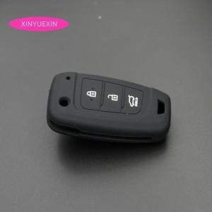 Image 4 - Xinyuexin Auto Schlüssel Fall Abdeckung Silikon für Hyundai Elantra Solaris 2016 2017 2018 3 Tasten Klapp Remote Key Shell