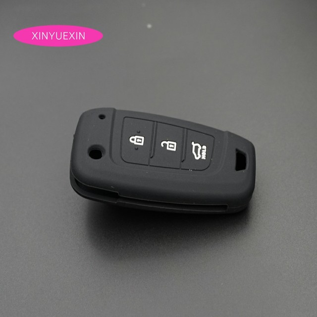 Xinyuexin Car Key Case Cover Silicone for Hyundai Elantra Solaris 2016 2017 2018 3 Buttons Folding Remote Key Shell