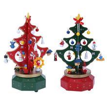 DIY Christmas Tree Hanging Ornaments Music Box Christmas Gift Merry-go-round Wood Craft Desktop X-mas Decoration Kids Gift