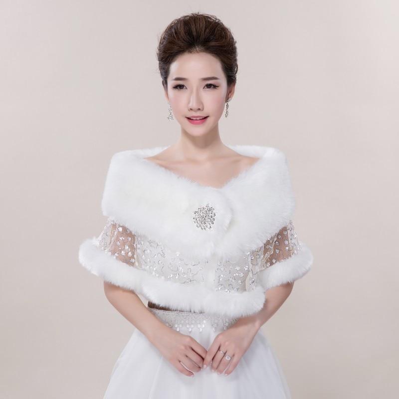 Wedding shawl warm winter jacket lace white bridal bride for Winter shawls for wedding dresses
