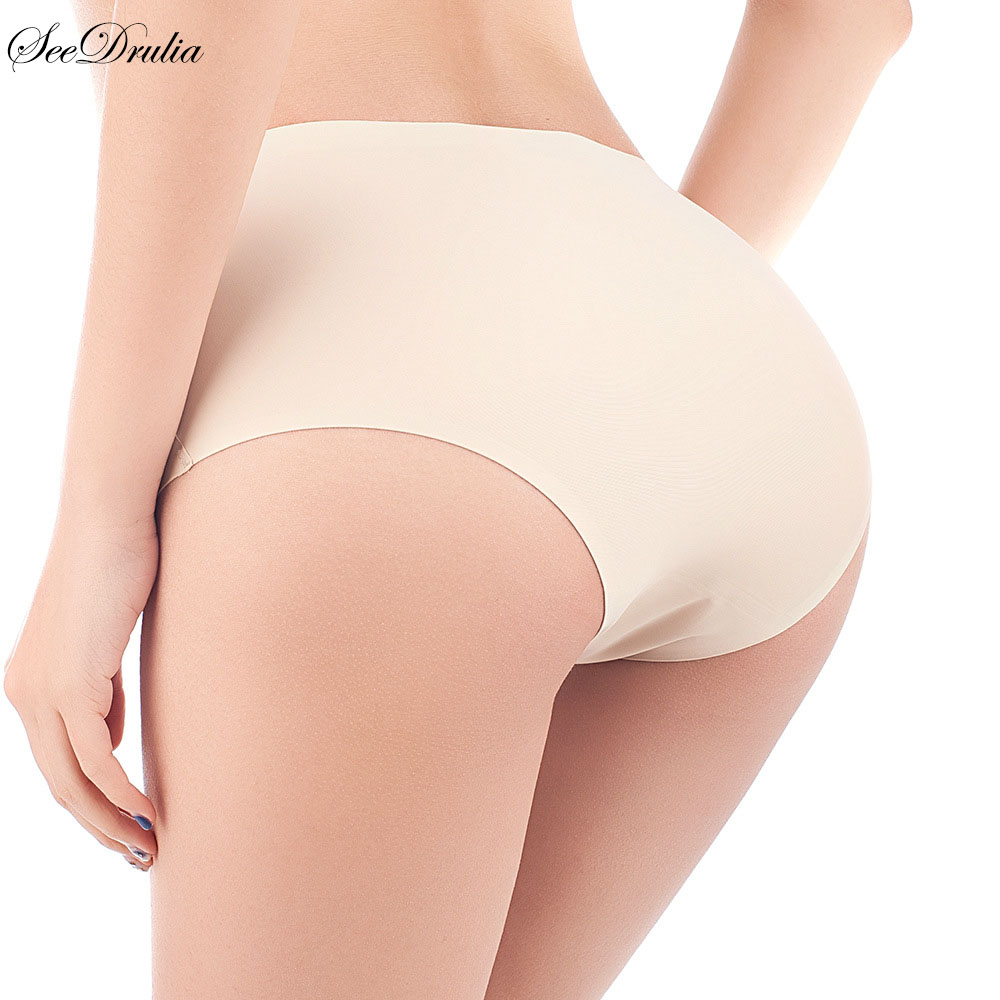 SEEDRULIA Sexy   panties   one-piece seamless ice silk underwear female Plus Size Shorts elastic breathable ladies briefs XXL