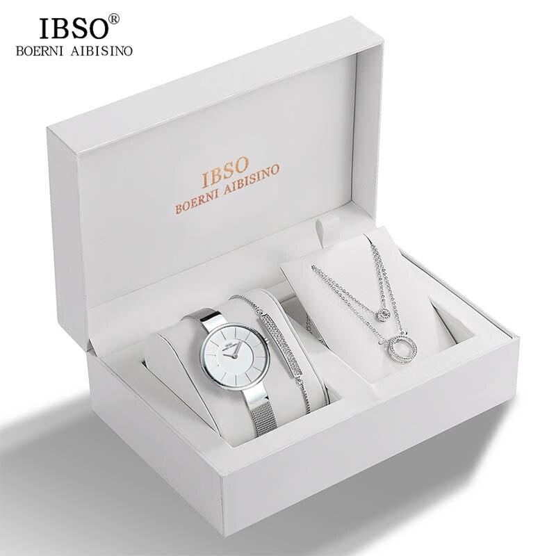 IBSO Brand Women Crystal Design Watch Bracelet Necklace Set Female Jewelry Set Fashion Creative Quartz Watch