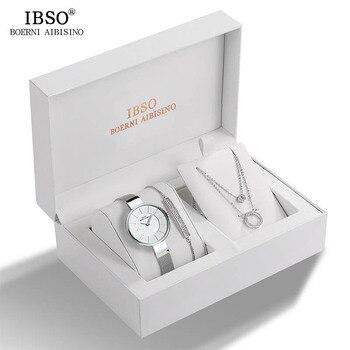 IBSO Brand Women Crystal Design Watch Bracelet Necklace Set Female Jewelry Set Fashion Creative Quartz Watch Lady's Gift brand c jewelry sets of 2 quartz watch and bracelet with gift box