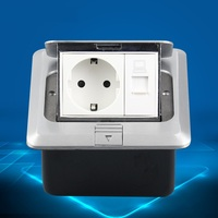 European Standard Germany Aluminum Dual Pin Hidden Ground Sockets with Floor Computer Socket Aluminiuum Panel with Mount Box