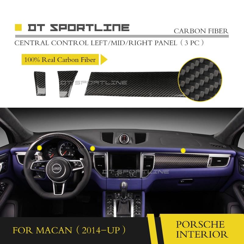 100% Reale In Fibra di Carbonio Assetto Interno Per Porsche Macan 95B Dashboard Kit Maniglia Della Porta Assetto center console copertura misura per LHD RHD