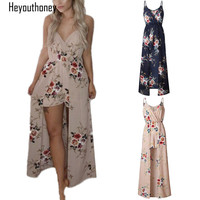 Heyouthoney 2017 Boho Floral Print Camisole Women Playsuits Khaki Rompers Maxi Dress Summer Beach Sexy Jumpsuit