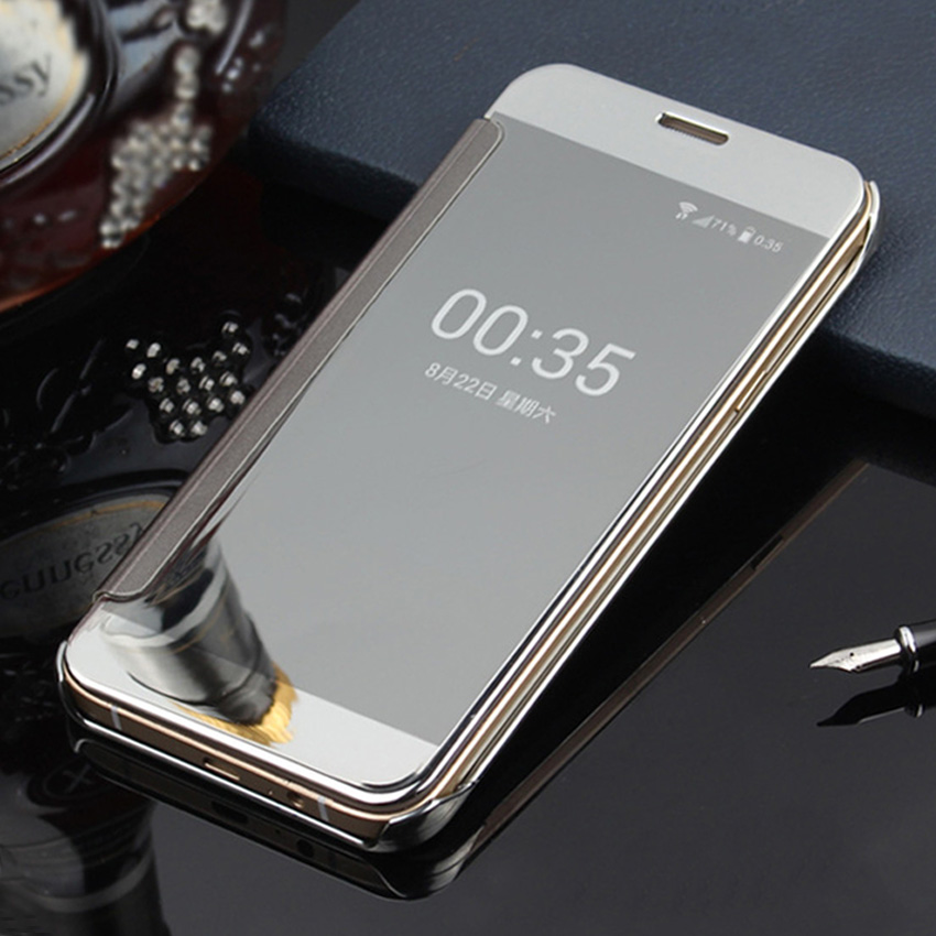 more photos 15e3c 59bc0 US $5.99 |Electroplating Hard Mirror Flip Case Clear View Cover Transparent  Phone Bag For Samsung Galaxy J5 J500 J500F J500H-in Flip Cases from ...