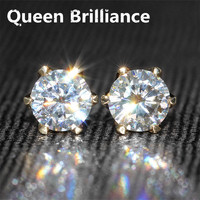 Genuine 14K 585 Yellow Gold 1CTW 5mm F Color Test Positive Lab Grown Moissanite Diamond Fashionable Studs Earring For Women