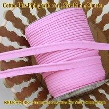 Gratis shipping 100 % katoen Bias Piping, vooringenomenheid piping tape met koord, maat: 12mm, 15yds DIY maken, naaien home textiel handgemaakte Roze
