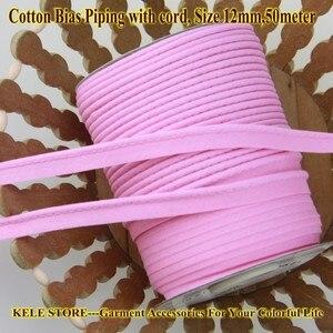 Image 1 - Miễn phí vận chuyển % cotton Thiên Vị Đường Ống, thiên vị piping tape có dây, kích thước: 12 mét, 15yds DIY làm, may home textile handmade Hồng