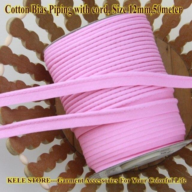 Miễn phí vận chuyển % cotton Thiên Vị Đường Ống, thiên vị piping tape có dây, kích thước: 12 mét, 15yds DIY làm, may home textile handmade Hồng