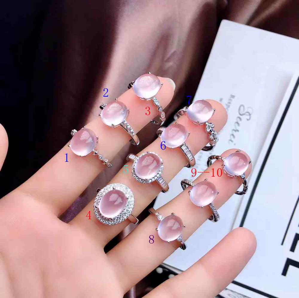 Pink Rose Quartz Gemstone Ring For Women With Silver Recommend Promotion Price