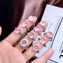 Розовая роза кварц драгоценный камень кольцо для женщин с серебром Рекомендуемая Рекламная цена