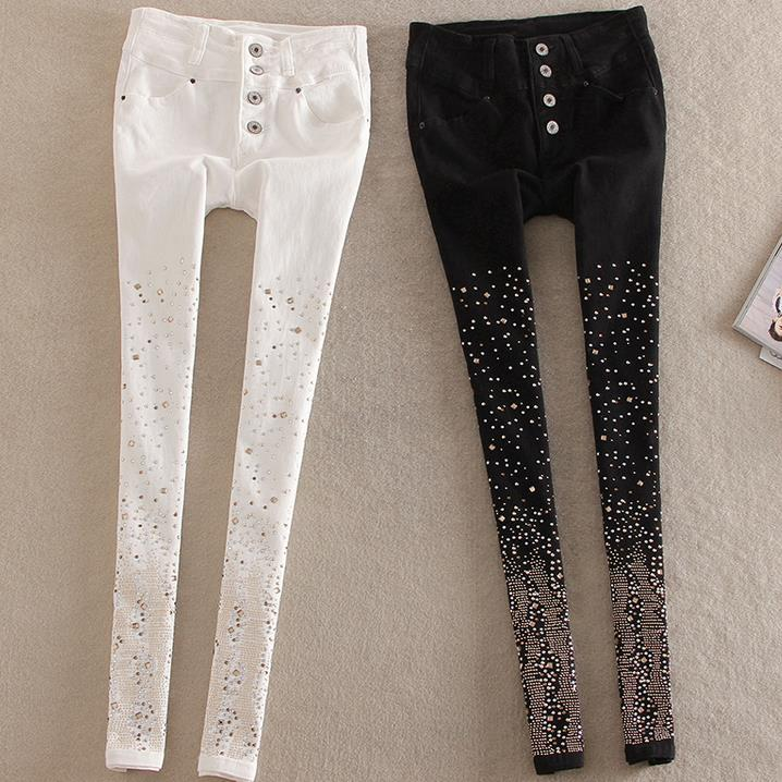 New Cotton Jeans Women Rhinestone High Waist Single Breasted Denim Pants Feet Pencil Pants Plus Size