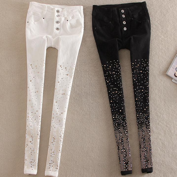 New Cotton Jeans Women Rhinestone High Waist Single Breasted Denim Pants Feet Pencil Pants Plus Size