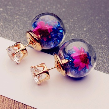 New Fashion Double Sided Glass Stud Earrings with Flower Crystals Inside Summer Style Women Pusety Earring Jewelry Hot Sale earrings