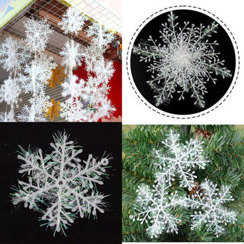 3pc/lot Creative White Plastic Snowflake Shape Hanging Ornament For Christmas Tree Home Window XMAS Festival Party Decoration image