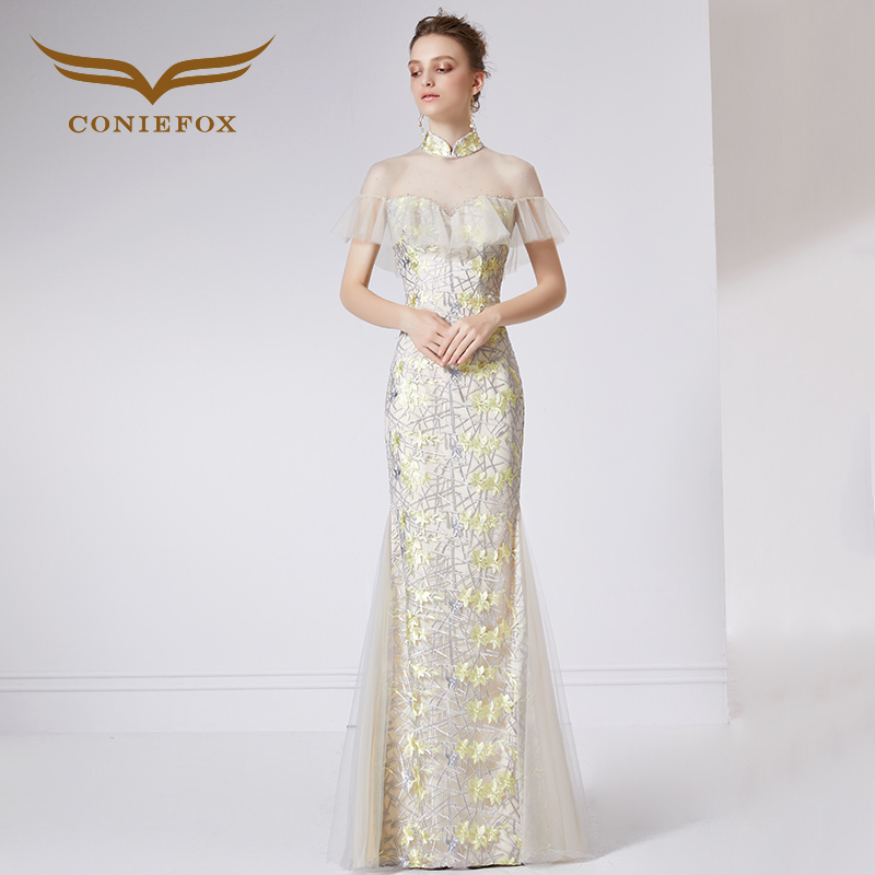 Coniefox 32065 giallo sirena elegante banchetto del vestito da sera vestito da Partito di Promenade vestiti da sera abiti lunghi vestido de noiva festa