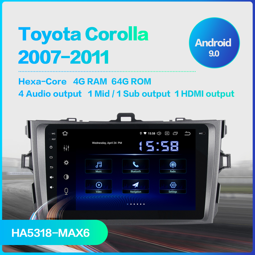 "Discount Dasaita 1 Din 8"" IPS Android 9.0 Car Radio for Toyota Corolla 2009 2010 2011 2012 2013 DSP Bluetooth GPS 4GB RAM 1"