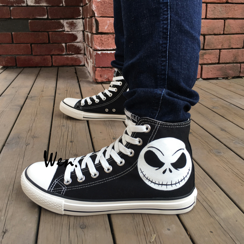 885a013304147c Wen Black Hand Painted Shoes Design Custom Nightmare Before Christmas Skull  Jack Skelli Head High Top Men Women s Sneakers