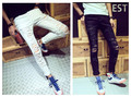 Fashion 2014 New Ripped Skinny Jeans Mens Jean Pant Slim Skinny Pants Jeans S-2XL Beggar Hole   Male Korean  Pencil Pants