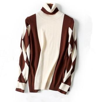 pure wool knit women fashion vintage argyle thick pullover sweater turtleneck black 2colors M/L