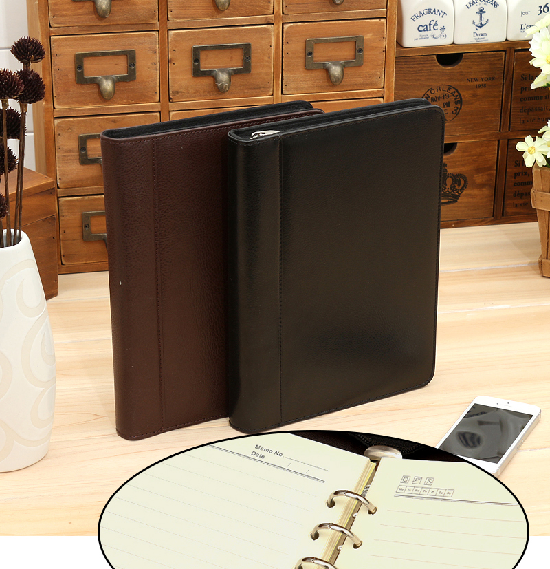 A5 leather notebook padfolio Agenda Planner organizer Mulifunction design Zipper bag note book with font b
