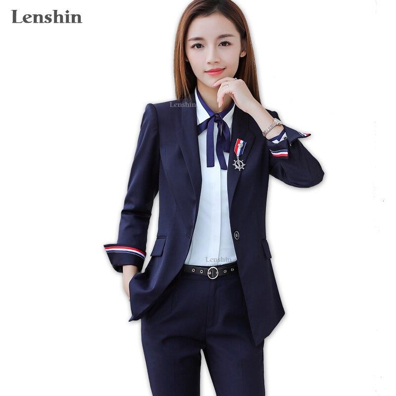 Lenshin 2 pièces Ensemble Costume Formel Pantalon Femmes Vêtements de Travail Contraste Manches Office Lady Uniforme Style D'affaires