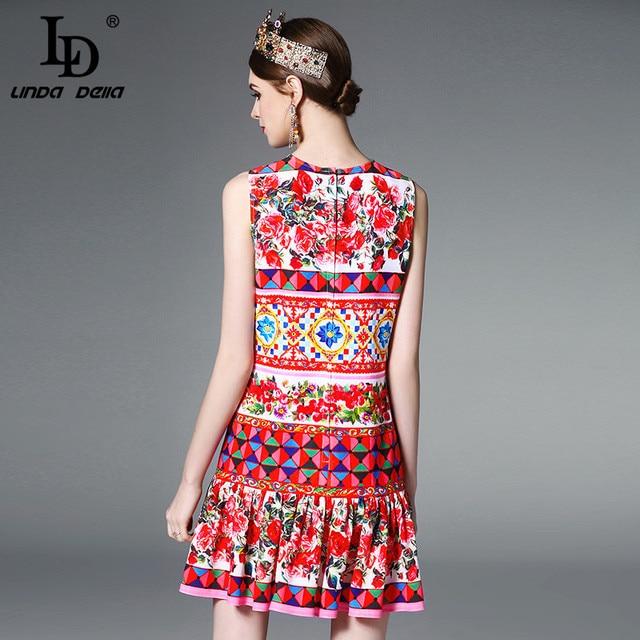 High Quality Newest 2017 Runway Designer Summer Dress Women's Sleeveless Elegant Straight Mini Cute Rose Floral Print Dress
