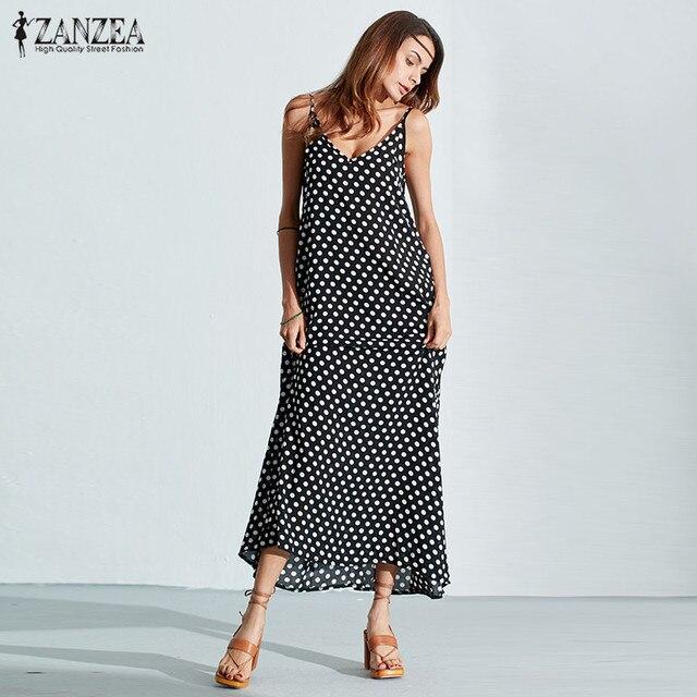 6 цветов zanzea dress 2017 летние женщины без бретелек горошек случайные свободные длинные maxi dress sexy досуг пляж плюс размер vestidos