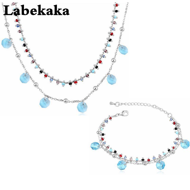 Labekaka Jewelry Sets Necklace Bracelet embellished with