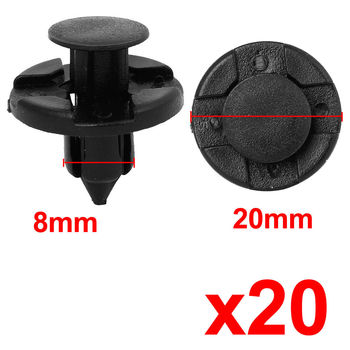 20PC 20mm Rivet Fastener Mud Flaps Bumper Push Clips Car Fasten Tools Fit for 8mm Hole For Nissan image