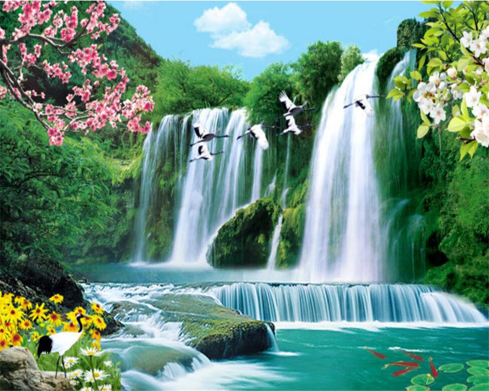 3d Free Fall Nature Wallpaper Beibehang 3d Wallpaper Decorative Painting Landscape