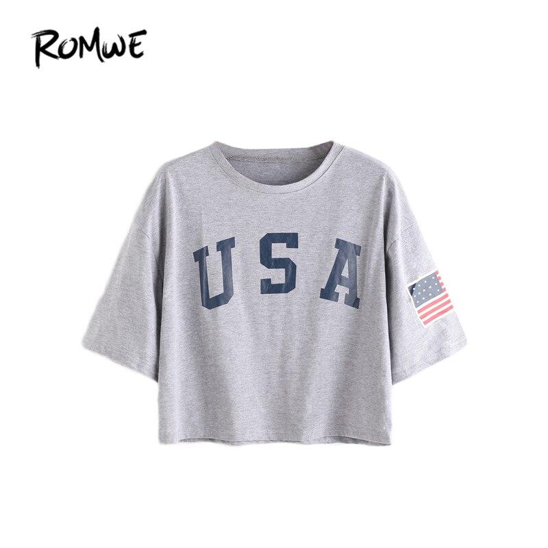 ROMWE T חולצות נשים 2018 קיץ חולצת טי חולצת טריקו למעלה נקבה גריי מכתב הדפס קצר שרוול טיפת חולצת טריקו
