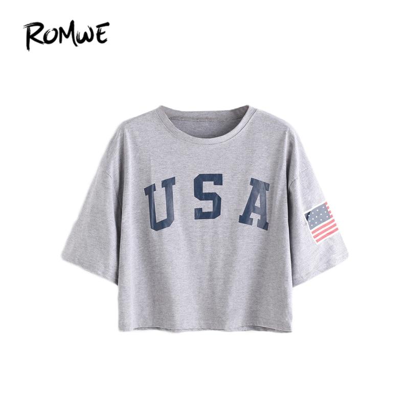 ROMWE T-shirts Dames T-shirt zomer-2018 Casual top Vrouwelijke T-shirt met korte mouwen en grijze letters en korte mouwen